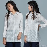 Abbie韓版新款甜美優雅刺繡長袖襯衫