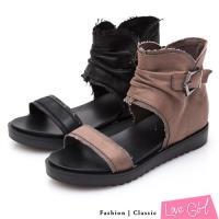 Love Girl 率性自在抓皺靴型側拉鍊涼鞋