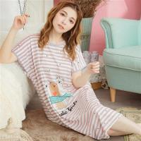 lingling日系  條紋小熊牛奶絲連身裙睡衣(全尺碼)