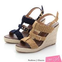 Love Girl 羅馬假期編織金屬扣楔型涼鞋
