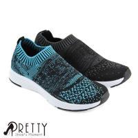 Pretty 女款透氣飛織布襪套式休閒懶人鞋P-26167