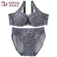 維緹妮亞 星花蕾絲胸罩內褲成套組 B-C (迷戀灰)