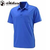 【Wildland 荒野】大尺碼男疏水纖維POLO排汗衣-海藍色