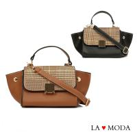 La Moda 設計師Look千鳥紋手提肩背斜背小包水餃包(共3色)