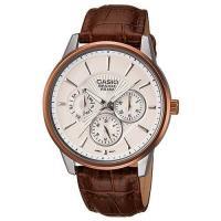 CASIO BESIDE 時尚都會三眼型男腕錶(白)_BEM-302L-7A
