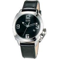 HUGO BOSS 新創造型時尚皮帶女錶-黑