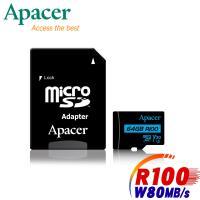 Apacer宇瞻 64GB MicroSDXC R100/W80MB UHS-I U3 V30 4K記憶卡