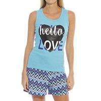 Love21 女柔軟衣藍色背心短褲睡衣套組(預購)