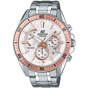 CASIO EDIFICE 勁速戰將計時賽車男錶-IP金框/白(EFR-552D-7A)