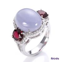 Artsda 紫翡尖晶石守護鑽戒(天然A貨翡翠,紅色尖晶石,18K金)