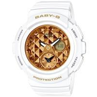 CASIO BABY-G BGA-195街頭時尚立體鉚釘設計雙顯腕錶-白X金(BGA-195M-7A)