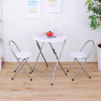 【頂堅】[耐重型]圓形折疊桌椅組/洽談桌椅組/餐桌椅組(1桌2椅)-二色可選