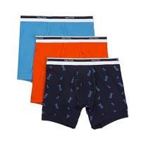 (預購)NAUTICA 男時尚彈性棉雙藍橙色四角修飾內著混搭3件組