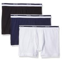(預購)NAUTICA 男時尚彈性棉黑藍白色四角修飾內著混搭3件組