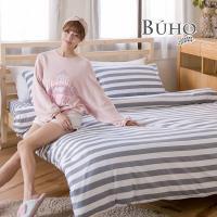 BUHO (城影光廊) 天然嚴選純棉雙人加大三件式床包組