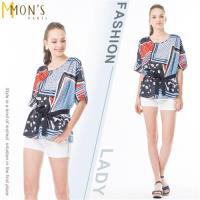 MONS時尚國際精品絲巾造型印花上衣