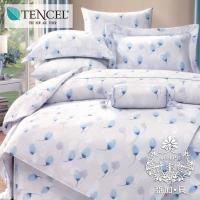 AGAPE亞加‧貝 獨家私花-蔚藍雪洋 天絲 雙人特大6x7尺八件式鋪棉兩用被床罩組