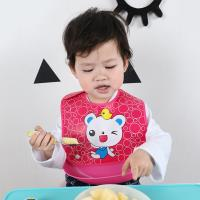 嬰兒圍兜 防水立體PVC開口接飯可拆式口水巾 吃飯衣【2件入】