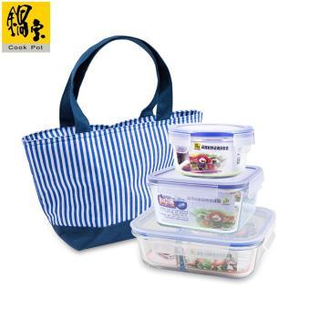 鍋寶 耐熱玻璃保鮮盒-輕食3+1組 EO-BVG6B352400BG1B