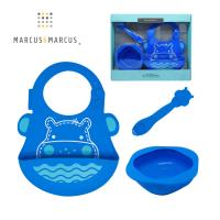 【MARCUS&MARCUS】動物樂園餵食禮盒組-河馬(藍)