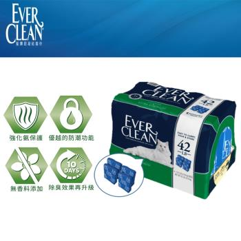 Ever Clean 藍鑽系列貓砂 藍標 強效無香低過敏 超凝結貓砂 42磅(約19公斤) (4入裝) X 1包