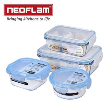 韓國NEOFLAM 分隔玻璃保鮮盒 四入組