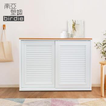 Birdie南亞塑鋼-4.1尺百葉推門收納櫃/棉被櫃/衣櫃(白色+原木色)