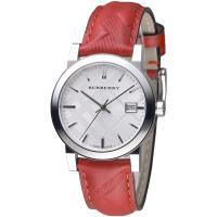 BURBERRY 倫敦精品幾何圖形設計皮帶女錶-銀白/紅色格紋(BU9152)