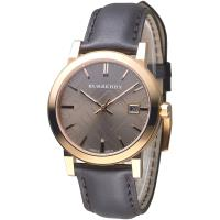 BURBERRY 倫敦精品幾何圖形設計皮帶男錶-玫瑰金框(BU9013)