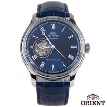 ORIENT東方錶 SEMI-SKELETON 羅馬時標 半鏤空機械男錶-藍x43mm FAG00004D0