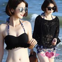天使霓裳 泳衣 湛藍月花 三件式比基尼泳裝RE2659(黑M~XL)