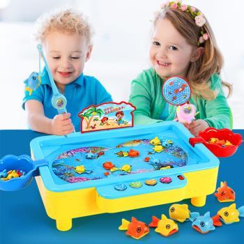 兒童益智釣魚盤玩具 磁性旋轉音樂電動釣魚達人玩具