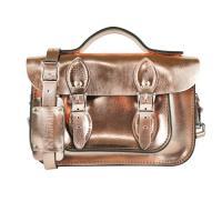【The Leather Satchel Co.】11吋 英國手工牛皮劍橋包 手提包 肩背 側背包 新款磁釦設計方便開啟 (玫瑰金)