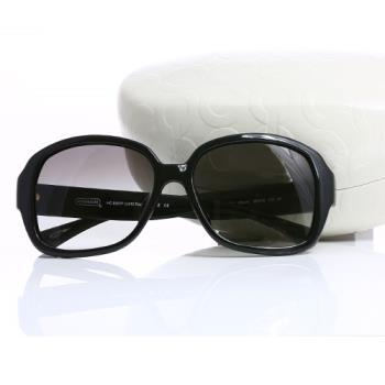 COACH 漸層鏡面立體愛心膠框太陽眼鏡(黑色)