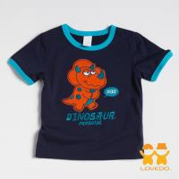 【LOVEDO-艾唯多童裝】溫馴三角龍 拼布式短袖T恤 (深藍) BSH13331