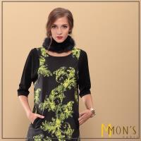 MONS設計款歐洲皇室印花七分袖洋裝