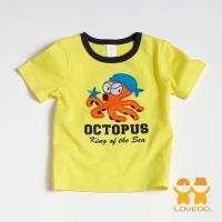 【LOVEDO-艾唯多童裝】章魚海盜王 拼布短袖T恤 (黃) BSH13400