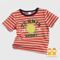 【LOVEDO-艾唯多童裝】活力網球 拼布條紋短袖T恤 (橘灰) BSH13417