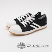 WALKING ZONE 防潑水帆布系列 側雙線帆布休閒鞋 女鞋-黑(另有白)