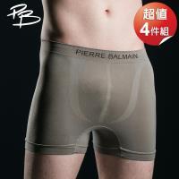 PB 皮爾帕門   彈力無縫平口褲超值4件-灰