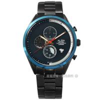 ALBA / VD57-X135SD.AM3597X1 / 藍寶石水晶玻璃 三眼計時期 不鏽鋼手錶 深藍x鍍灰 43mm