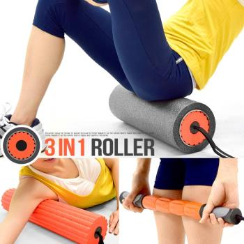 3IN1瑜珈滾輪(中空滾輪+瑜珈柱+按摩棒)