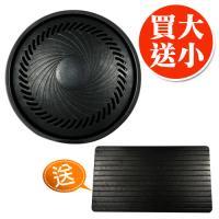 金德恩 台灣製造 攜帶式鐵製大烤盤33公分附小把手+免泡水解凍盤1組