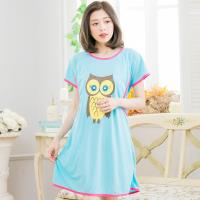 貓頭鷹哺乳孕婦連身裙居家睡衣(甜蜜藍)全尺碼lingling日系
