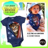 摩達客   美國 The Mountain 愛國小貓 精梳純棉嬰幼兒短袖包屁衣  國際環保
