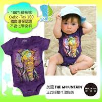 摩達客(預購)美國進口The Mountain  彩繪大象  精梳純棉嬰幼兒短袖包屁衣 (國際環保認證天然染料安心穿)
