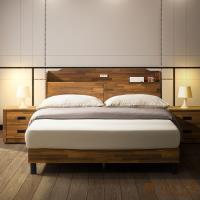 日本直人木業-STYLE積層木圓弧5尺附插座立式全木芯板床組
