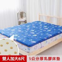 米夢家居- 夢想家園-冬夏兩用馬來西亞進口100%天然乳膠床墊-5公分厚-雙人加大6尺