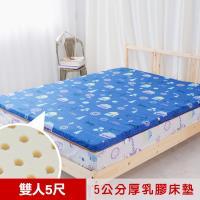米夢家居- 夢想家園-冬夏兩用馬來西亞進口100%天然乳膠床墊-5公分厚-雙人5尺