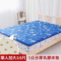 米夢家居- 夢想家園-冬夏兩用馬來西亞進口100%天然乳膠床墊-5公分厚-單人加大3.5尺